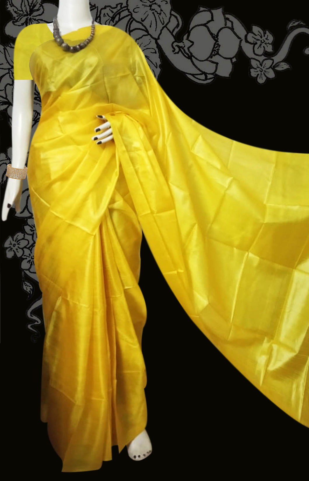 Bursana yellow munga silk saree