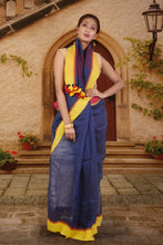authentic linen saree in dark blue with yellow contrast border