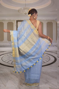 authentic linen saree ice blue with zari border