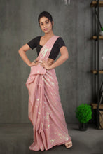 authentic linen saree in frosted pink with all over sequin work