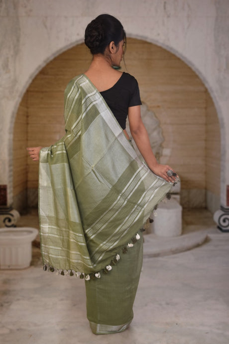 Authethic linen saree in moss green colour