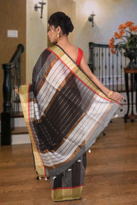 authentic linen saree black and grey with golden zari border