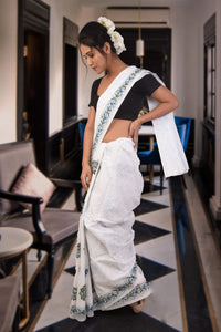 authethic linen saree with block print