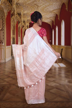 authethic linen saree in peach