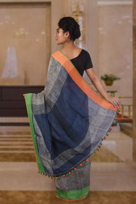 Authethic linen grey and blue saree