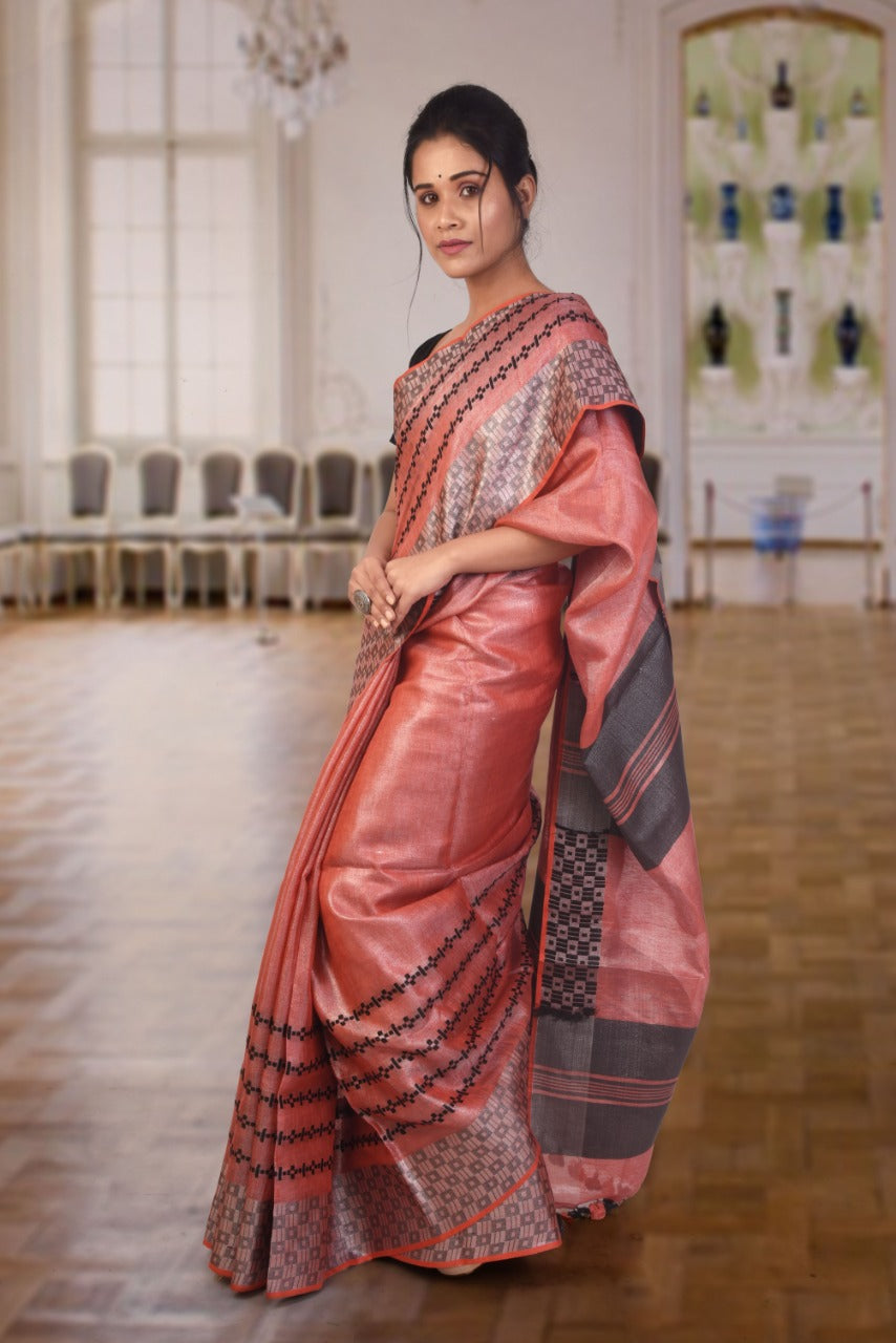 Authethic linen saree in rust colour