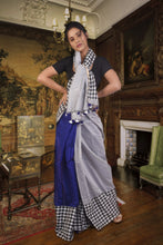 Attractive cotton silk saree in royal blue and grey with white and black chequered border