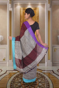 Pure Cotton linen saree in grey and maroon combo