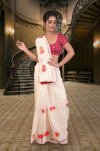 Authentic linen saree in white with elephant motif