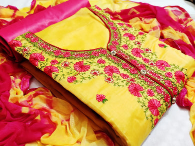 Yellow pink kashmiri work suits