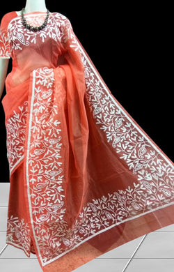 Orange color Super Net Saree With Aari Work