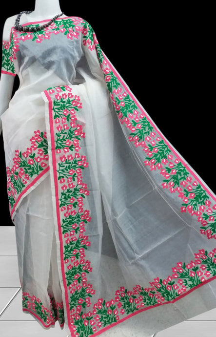Peaceful white super net saree With Aari Work