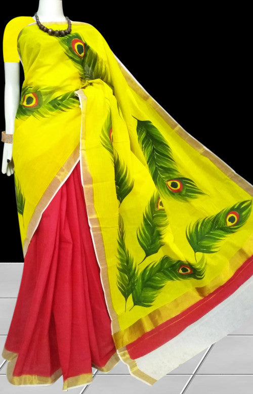 Beautiful yellow and red color Kerala cotton saree with hand painted