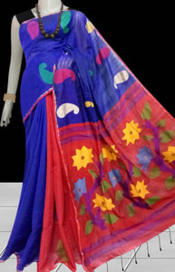 Red & blue color combination cotton silk saree