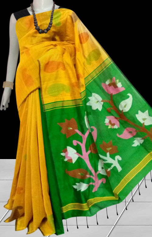 Cotton silk saree with traditional jamdani work