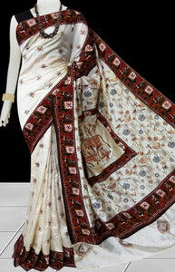 White Color Art Silk Saree