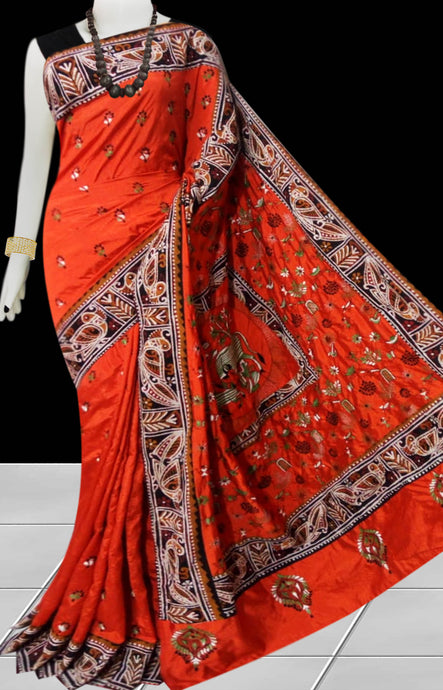 Orange Color Art Silk Saree