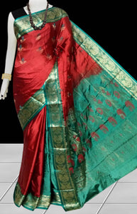 Green & Maroon Rajshai silk handloom saree
