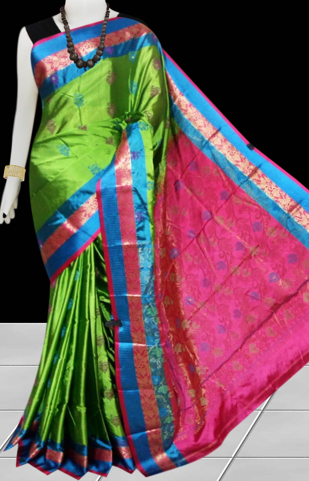 Green & Pink Rajshai silk handloom saree