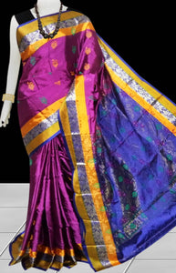 Purple & Blue Rajshai silk handloom saree