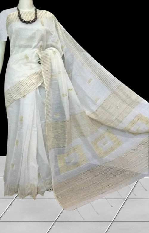 Glorious white color cotton ghicha box works handloom saree