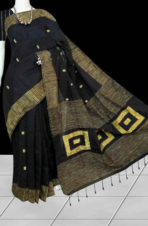 Dazzling black color cotton ghicha box work handloom saree