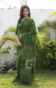 Fresh green color cotton ghicha box work handmade saree