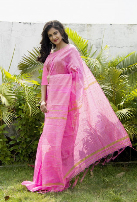 Lovely pink color cotton ghicha temple work handloom saree