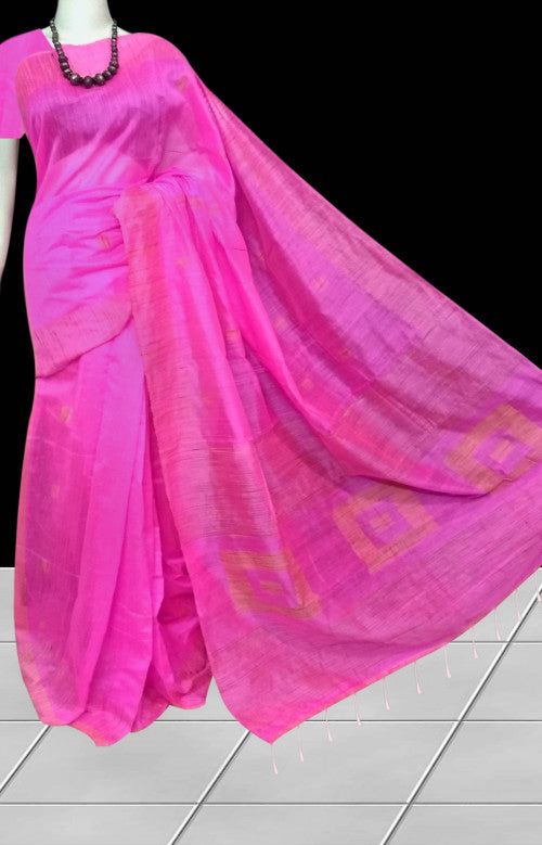 Trendy pink color cotton ghicha box work handloom saree