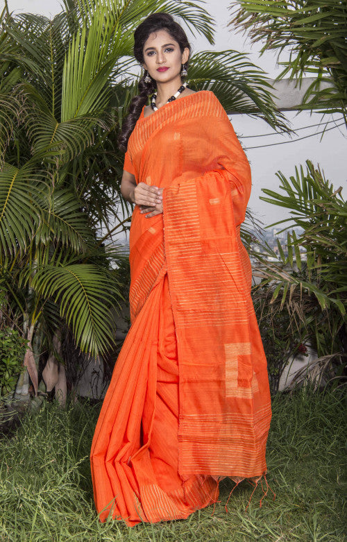 Fashionable orange color cotton ghicha box work handmade saree