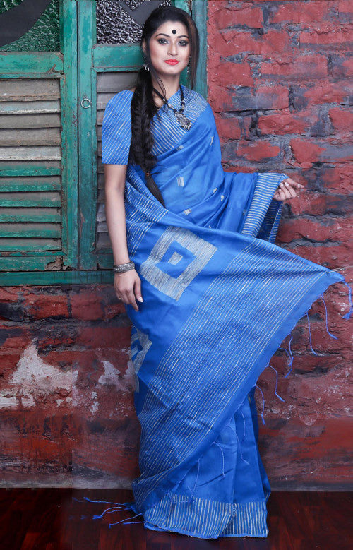 Classy light blue ghicha box work silk cotton handloom saree