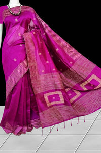 Creative magenta color cotton ghicha box works handloom saree
