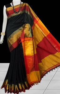 Black cotton silk saree with pom-pom work