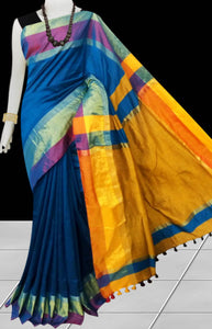 Blue base cotton silk saree with pom-pom work