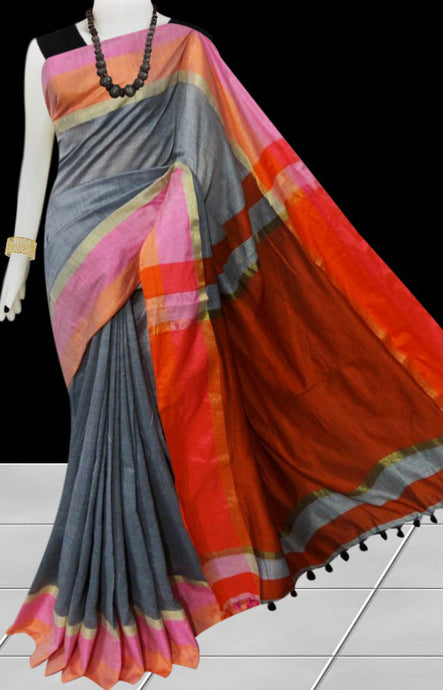 Gray cotton silk saree with pom-pom work