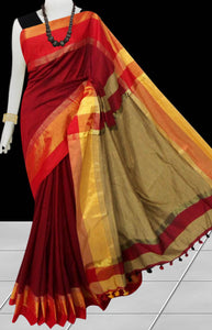 Red cotton silk saree with pom-pom work