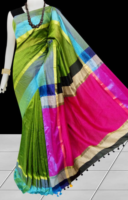 Parrot green cotton silk saree with pom-pom work