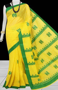 Yellow Color cotton saree, featured with green color applique work