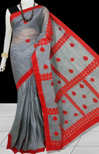 Dark Grey Color cotton saree, featured with Red color applique work