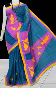 Rama green and purple Color cotton saree