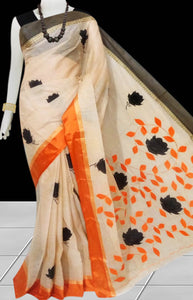 Butter Color cotton saree, featured with black & orange color applique work