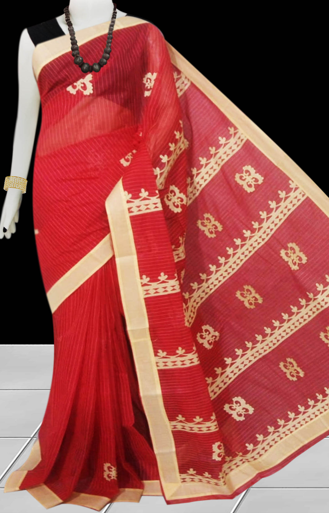 Red Color cotton saree, featured with applique work