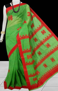 Green Color cotton saree, featured with red applique work