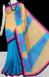 Sky blue and cream Color cotton saree, featured with applique work