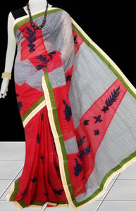 Red and grey Color cotton saree, featured with applique work