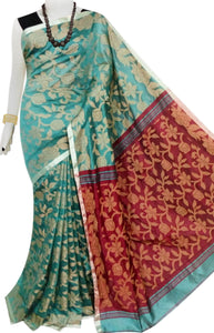 Turkish blue color body full weaving work Cotton silk saree with maroon anchal