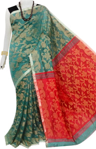 Green & Orange full weaving work Cotton silk saree
