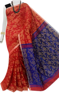 Red & Blue full weaving work Cotton silk saree