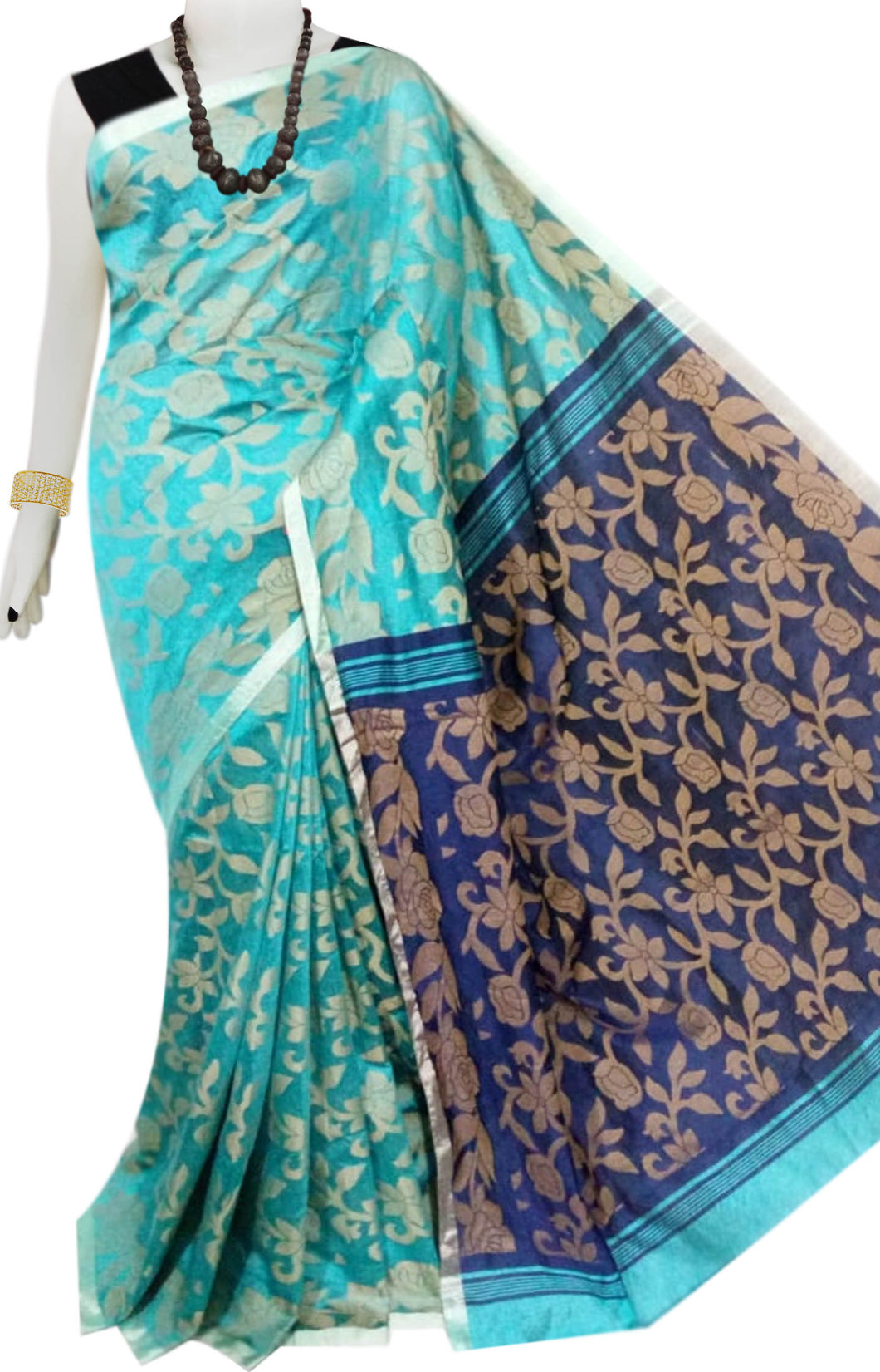 Sea blue color body full weaving work Cotton silk saree with navy anchal