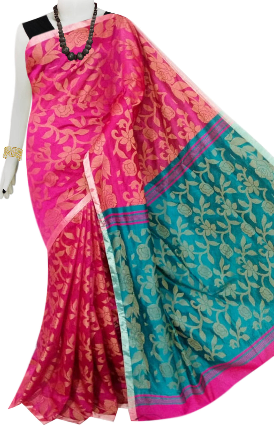 Pink color body full weaving work Cotton silk saree with blue anchal